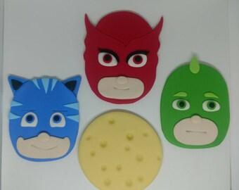 Fondant PJ Masks Cake Toppers - Fondant Owlette - Fondant Gekko - Fondant Catboy - Fondant Moon - Kids Birthday Cake Topper