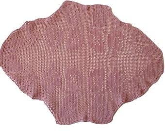 Bubblegum hand dyed vintage filet lace doily table centre