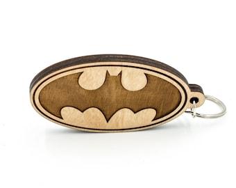 Batman Wooden Keychain - Batman Logo Carved Wood Key Ring - Dark Knight Wooden Laser Engraved Charm