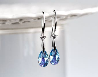 SWAROVSKI crystal earrings Blue earrings Bridesmaid gift earrings Bridal earrings SWAROVSKI Silver earrings Teardrop earrings CZ 867