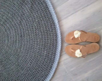 crochet rug  ,round rug, floor rug, handmade rug, 100%wool, 80cm