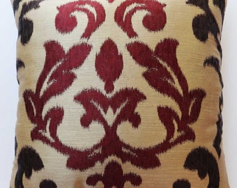 Gold and maroon damask pillow. decorative damask  pillow. modern damask pillow.   18x18 and 20 x 20