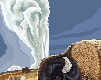 Yellowstone National Park - Bison with Old Faithful (Art Prints available in multiple sizes)