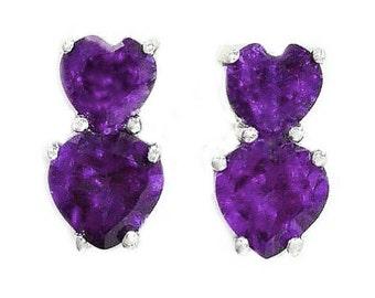 3 Ct Alexandrite Double Heart Stud Earrings .925 Sterling Silver Rhodium Finish