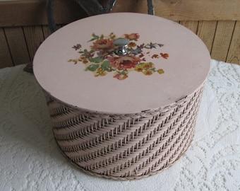 Pink Sewing Basket Vintage Boxes and Tins Old Craft Storage Bin Harvey, Barrington IL