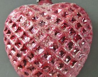 "Glass 646 Ornament Sparkling Pink Heart Inge Glas Germany 3"" Christmas Valentine"