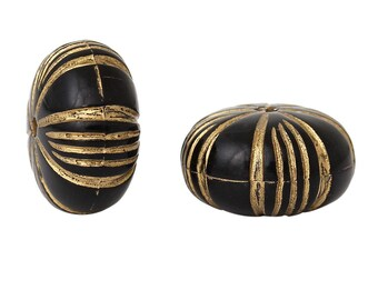 Etched Gold Stripe Acrylic Bead - 12mm - Black & Gold - Set of 50 - #HK1405
