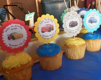 12 Disney Cars Cupcake Toppers, Disney Cars Themed Cupcake Toppers, Custom Personalized Cupcake Toppers, Birthday Party Decorations