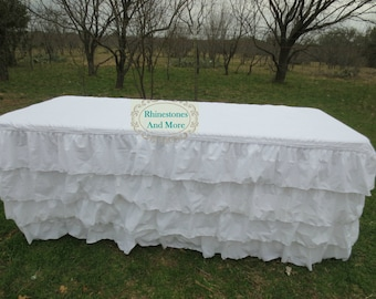 Ruffled White Cotton Tablecloth