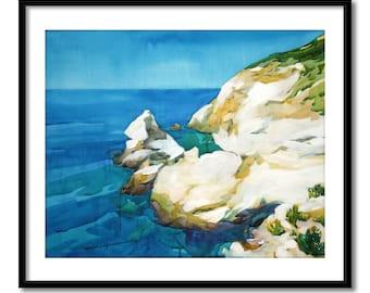 Original coastal watercolor painting, seascape painting, contemporary art