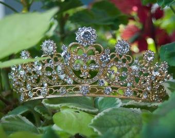 Bridal crown gold plated bridal full crown Swarovski crystals bridal crown. VIRGINIE.