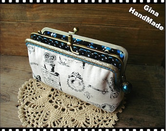 Vintage Perfume iphone case Two-compartment Coin purse / Coin Wallet / Pouch coin purse / Kiss lock frame purse bag-GinaHandmade