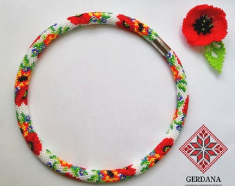 Sunflower necklace ukrainian jewelry traditional beadwork Poppy necklace beadwork crochet ukrainian embroidery Ukrainian poppy and sunflower