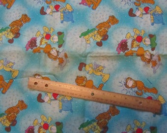 Blue Garfield/Odie Toss Cotton Fabric by the Half Yard