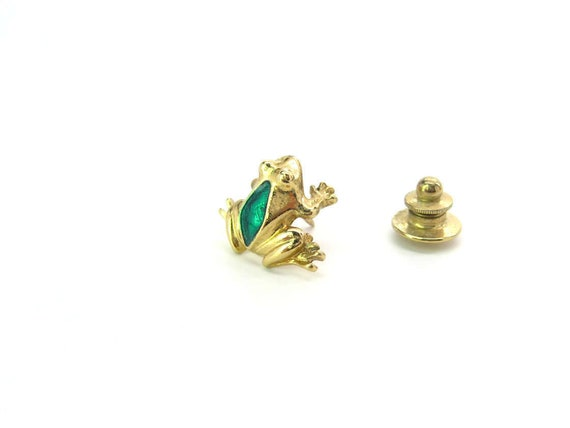 Vintage Gold Tone & Green Enamel Frog Tie Tack Hat Pin by Avon Jewelry