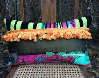 """Cushion rectangular and colorful Bohemian gypsy """"Stripes and tassels"""""""
