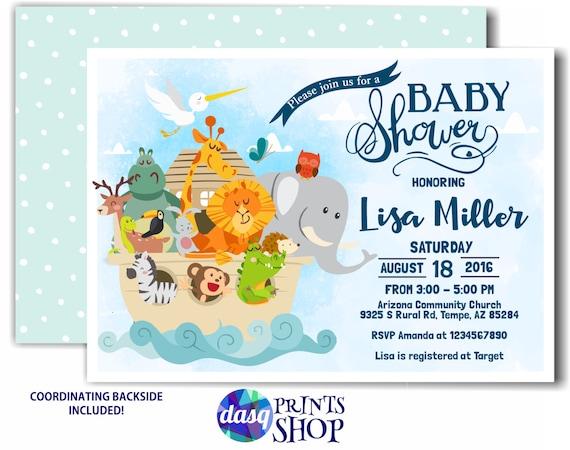 Noahs Ark Invitation Baby Shower Twins Baby Shower