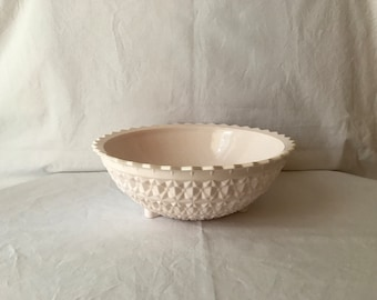 """Vintage Jeanette shell pink milk glass footed bowl, pink milk glass, Jeanette buttons and bows, 11"""" pink milk glass footed bowl"""
