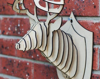 3D Puzzle STAG Head - - Faux Taxidermy - Wall Decor - Animal - Puzzle - MDF - Laser cut - Stag - Deer - Christmas