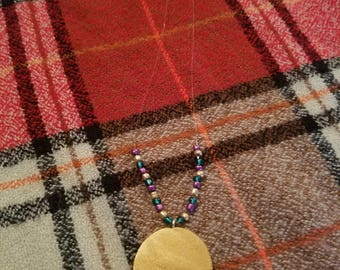 Gold Medallion Style Wood and Bead Necklace