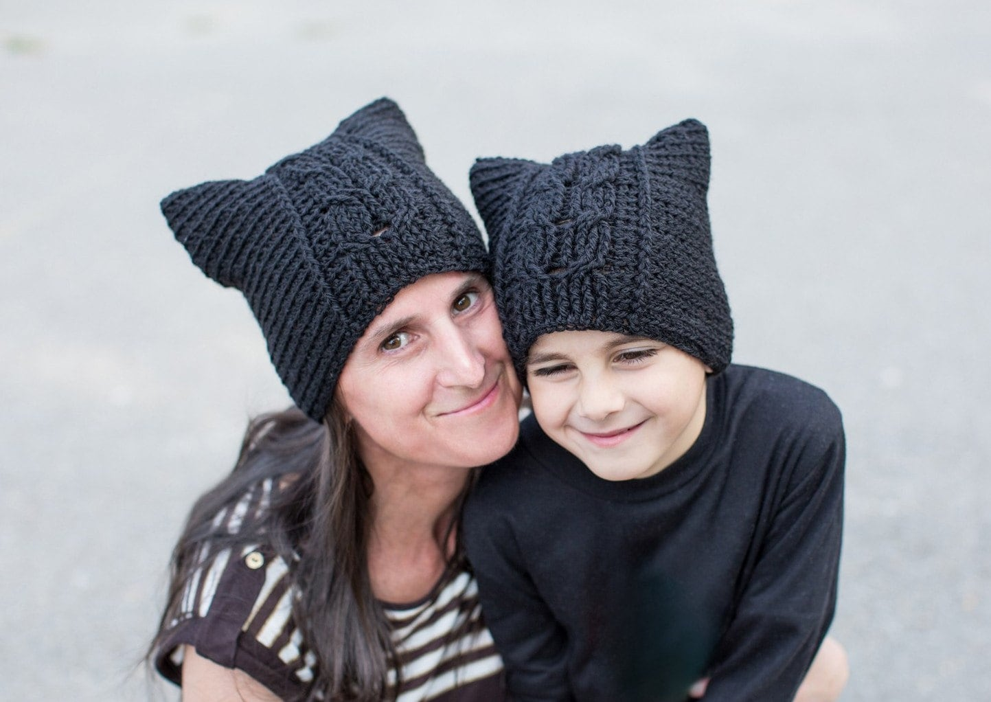 Crochet Pattern for Cat Hat with Cable Panels, sizes newborn to ...
