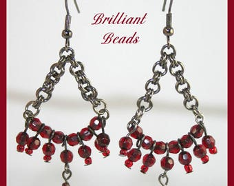 Garnet Red and Gunmetal Black Chandelier Earrings, Red & Black Earrings, Goth Earrings
