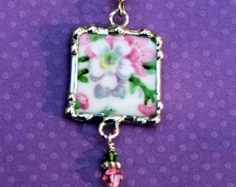 Necklace, Broken China Jewelry, Broken China Necklace, Pink and White Floral Chintz, Sterling Silver, Soldered Jewelry