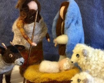 Needle felted nativity, felted nativity set, wool nativity, nativity ornament, nativity felted, Christmas felted, felted nativity scene
