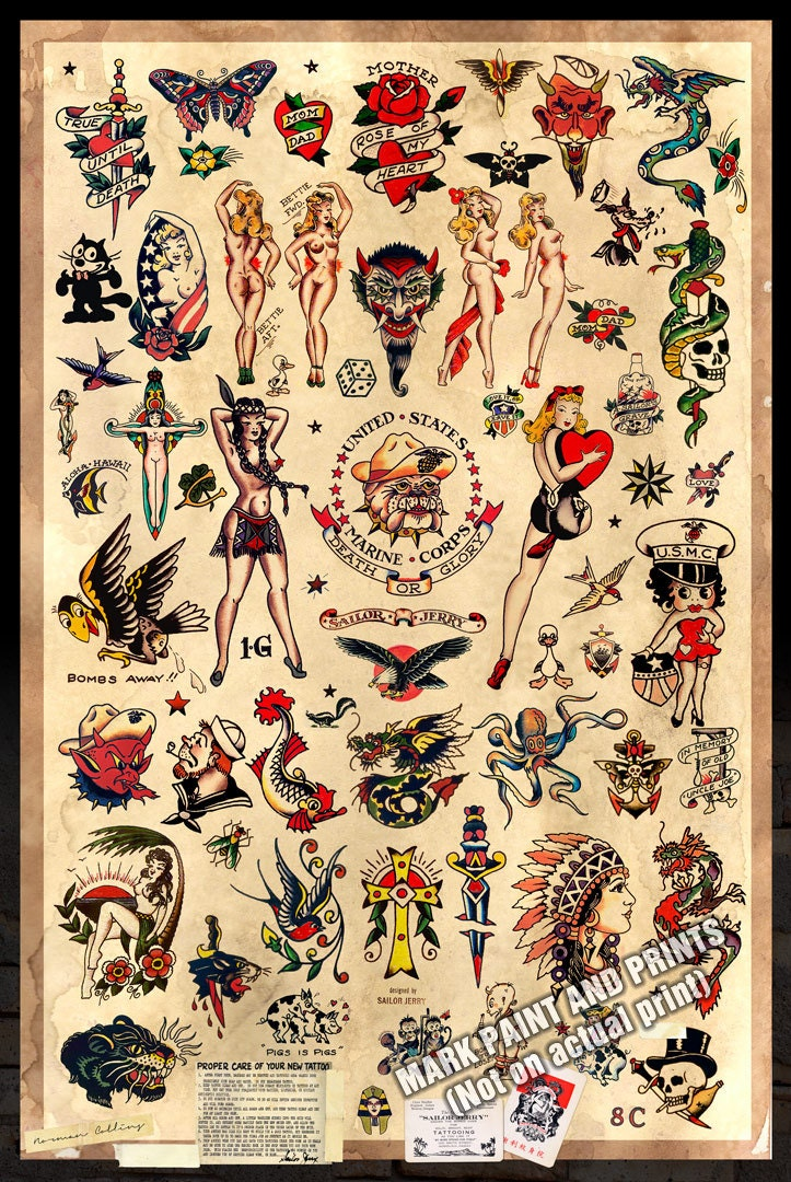 Sailor Jerry Tattoo Flash 2 Poster Print 24x36