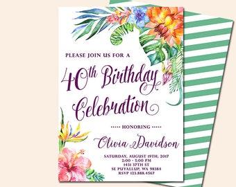 Tropical Aloha Birthday Invitation, Luau Invitation, Hawaiian Invitation, Hibiscus Invitation, Printable file only
