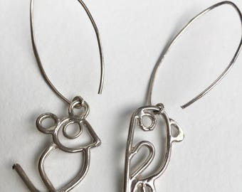silver funny earrings with little animals