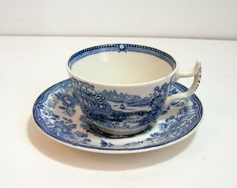Clarice Cliff Royal Staffordshire Tonquin Blue Cup and Saucer
