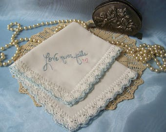 Bridal Keepsake, Something Blue, Lace Handkerchief, Hankie, Hanky, Hand Crochet, Embroidered, Personalized, Love,  Custom, Ready to ship