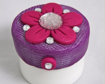 Fuchsia FLOWER Carmex Polymer Clay Topper - Violet Purple & Fuchsia with Glass Crystals