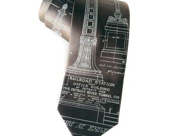 Detroit Train Station necktie. Michigan Central Station tie, Ironwork detail. Men's 100% silk tie. Silkscreened blueprint, pale gray print.