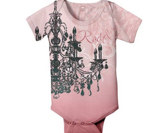 Baby Girl Bodysuit, Personalized Pink Chandelier Infant Snapsuit