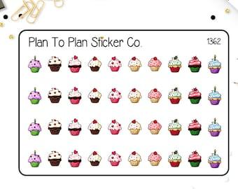 1362~~Cupcakes Birthday Planner Stickers.