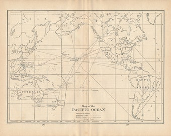 1929 Pacific Ocean (With Routes to Hawaii) Antique Map