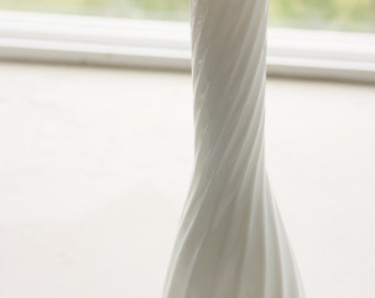 Swirl Milk Glass Vase, Medium