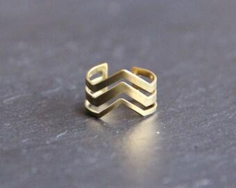 Support ring adjustable triple chevron raw brass