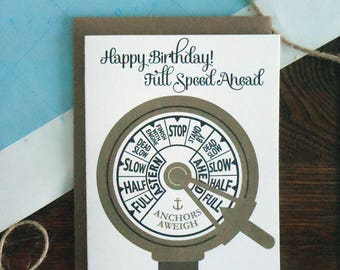 letterpress full speed ahead nautical boat ship greeting card birthday blue gold anchor throttle vintage