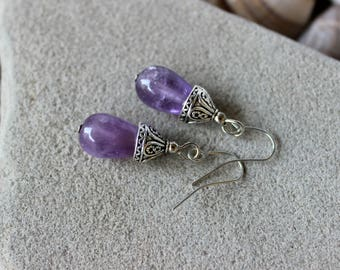 Amethyst Earrings, Lavender Amethyst Earrings, Amethyst Jewelry, Lilac Bead Earrings, Purple Bead Earrings, Chakra Earrings, Healing Jewelry