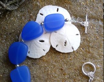 Sz 8.25 Sea Glass and Crystal Bracelet beach glass blue bracelet glass sea glass bracelet size 8.25 inches E1718