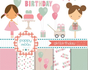 Girls birthday, pink mint and beige, printable digital clipart and paper pack.