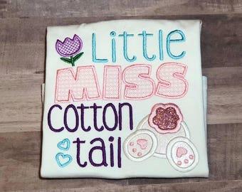 Easter Shirt, Girls Easter Shirt, Easter Bunny Shirt, Little Miss Cottontail Shirt, Easter Shirt for Girls, Girl Bunny Easter Shirt,
