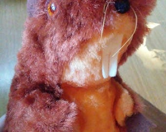 Vintage 1960 beaver stuffed animal 12 inches