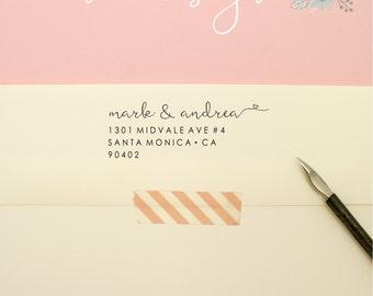 Self Inking Custom Address Stamp - Feathery Cursive Return Address Stamp