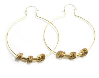 SALE -- BONFIRE | Large Brass Hoops with Vintage Brass Washers and Tube Beads