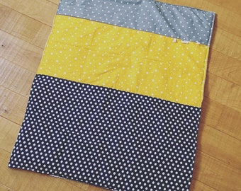 Baby blanket blue and yellow customizable