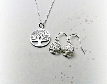 Tree of life jewelry etsy tree of life jewellery set sterling silver tree of life necklace gifts for her mozeypictures Gallery